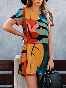 Vestido estilo camiseta Vestido de verano Cuello joya Estampado de hojas Vestido de playa de algodón