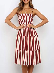 فستان صيفي مخطط ، فستان نسائي بدون أكمام