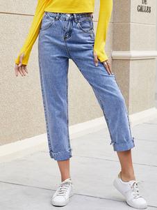 Jeans de cintura alta para mujer Pantalones de mezclilla recortados