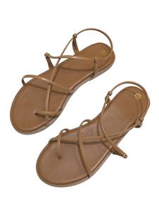 Sandálias planas sandálias boêmio gladiador café marrom sandálias planas