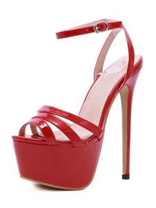 Sandali da donna Sandali con tacco a spillo Tacco chic Sandali con plateau rossi