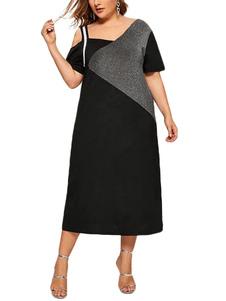 Abito taglie forti per donna Abito t-shirt asimmetrica in cotone nero