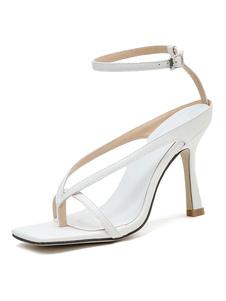 Sandali da donna Sandali con tacco a spillo Tacco chic Sandali con cinturino alla caviglia bianchi