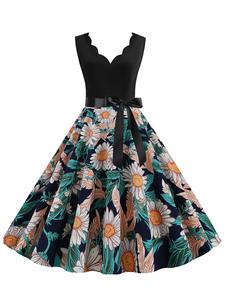 Винтажное платье подсолнуха 1950s V-образным вырезом без рукавов с цветочным принтом