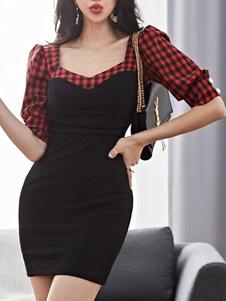 Обтягивающие платья Черное платье в пол с рукавами