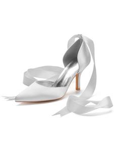 Tacchi alti da donna Cinturino alla caviglia Punta a punta Tacco a spillo Archi Scarpe classiche da sposa avorio