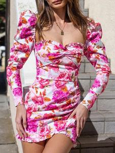 Vestidos ajustados florales Vestido de lápiz de manga larga con pliegues