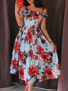 Винтажное платье 1950-х годов без бретелек без рукавов женская чайное платье с цветочным принтом