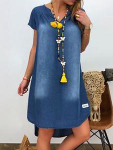 Abiti a trapezio Abito a tunica attraente da donna in denim con scollo av blu
