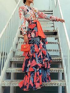 Vestidos largos de manga larga con estampado floral rojo con cuello en V con cordones Vestido largo hasta el suelo de poliéster en capas