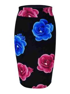 تنورة نسائية سوداء مطبوعة قطن مزيج الصيف الخريف والشتاء قيعان النساء
