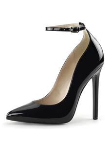 المرأة مثير عالية الكعب رباط الكاحل أسود أشار تو الترتر أحذية مضخة مثير