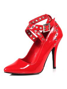 Женщины Sexy Высокие каблуки ПУ красный острым носом Блестки Сексуальная обувь