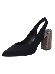 Tacchi alti Sandali Slip-On Scarpe a punta tacco grosso Opera Strass Chic Nero Sandali