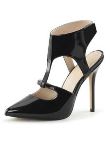 Sandali sexy con tacco alto Scarpe sexy in pelle PU con punta nera