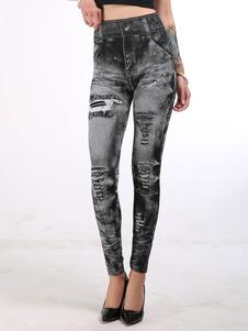 Leggings de cintura alta Jeans elásticos como parte inferior de mujer