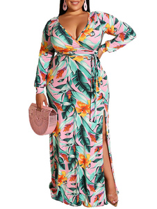 Vestidos largos Manga larga Estampado tropical Cuello en V Faja Hasta el suelo Vestido