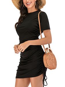 Ruched Bodycon платья Короткие рукава Jewel шеи Drawstring Midi платье