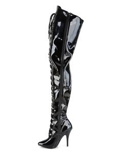 Stivali sexy da donna con punta a punta con cerniera con paillettes Tacco a spillo Rave Club Stivali sopra il ginocchio neri