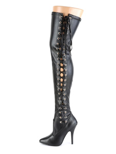 المرأة مثير أحذية أشار تو زيبر الترتر الخنجر كعب الهذيان نادي أسود فضي فوق الركبة الأحذية