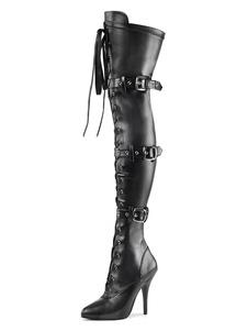 المرأة مثير أحذية أشار تو زيبر الترتر الخنجر كعب الهذيان نادي أسود فضي الفخذ أحذية عالية