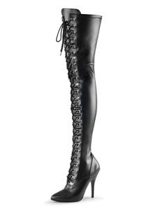 Stivali da donna sexy con punta a punta con cerniera con paillettes Tacco a spillo Rave Club Stivali alti neri argento