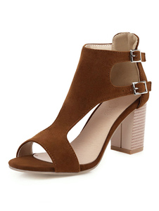 Sandali da donna Chunky Heel Buckle Sandali eleganti con punta aperta e punta aperta