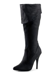 المرأة مثير أحذية أشار تو الترتر خنجر كعب الهذيان النادي الأسود الفخذ أحذية عالية