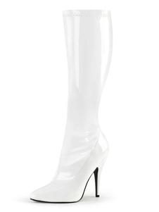 مثير أحذية عالية الكعب أشار تو الترتر الخنجر كعب الهذيان نادي الأبيض الفخذ أحذية عالية