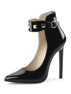 الكعوب النساء مثير عالية أسود أشار تو الكاحل الشريط الترتر مثير أحذية