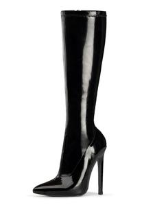 وأشار مثير أحذية عالية الكعب الترتر تو كعب خنجر الهذيان النادي الأسود أحذية عالية الفخذ