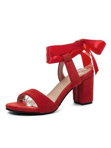 Sandalias para mujer Chunky Heel Academic Slip-On Round Toe Plus Size Sandalias rojas
