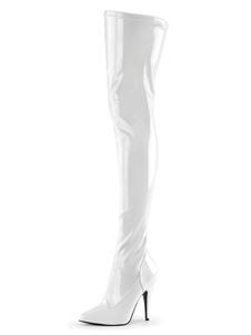 Сексуальные сапоги на высоком каблуке заостренный носок блестки с блестками стилет каблук Rave Club белые бедра высокие сапоги