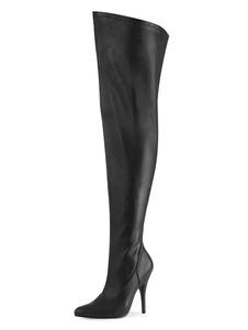 Stivali da donna sexy con punta a punta con cerniera con paillettes Tacco a spillo Rave Club Stivali alti neri