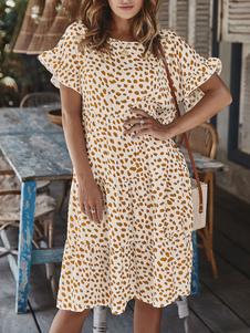فساتين سموك قصيرة الأكمام فستان الصيف طباعة الأزهار