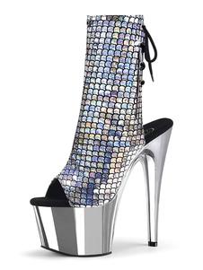 Botas de salto alto sexy Peep Toe Lace Up Zipper Stiletto Rave Club Voltar gravata prata Sexy Ankle boots