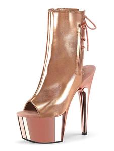 Mulheres Sexy Botas Peep Toe Lace Up Zipper Salto Agulha Rave Clube Voltar Gravata Loiro Ankle Boots