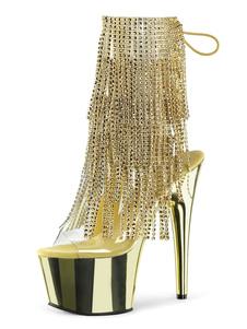 Mulheres Sexy Botas Peep Toe Lace Up Zipper Salto Agulha Rave Clube Ankle Boots Loiras Sexy