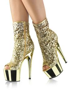 Botas de salto alto sexy Peep Toe Lace Up Zipper Stiletto Heel Rave Club tornozelo loiro botas de plataforma alta