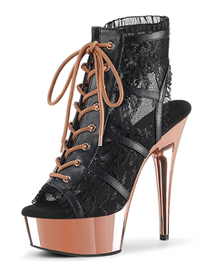 Botas de salto alto sexy Peep Toe Lace Up Zipper Stiletto Heel Rave Club Preto Sexy Ankle Boots