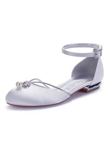 Zapatos de novia Perlas de satén blanco Zapatos de novia planos con punta redonda