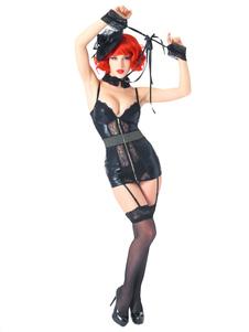 Черное сексуальное мини-платье с застежкой-молнией из искусственной кожи с колье и кружевным браслетом