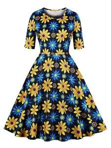 Vestido de girassol 1950 mangas mulher vestido de verão