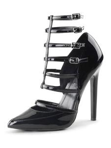 وأشار الكعب العالي للمرأة تو خنجر كعب الترتر أحذية مثير خمر أسود