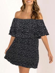 فستان صيفي قبالة الكتف شاطئ Ditsy طباعة الأزهار فستان الشاطئ