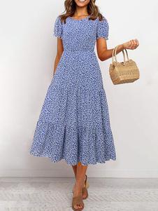 Ditsy Цветочные платья макси с короткими рукавами Жемчужное шею летнее платье