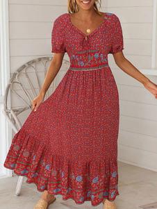 Пляжное платье макси Boho с коротким рукавом и цветочным принтом