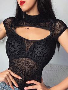 Sexy Black Tops Sheer Cut Out Cap Sleeve Camiseta de mujer