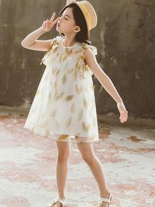 O vestido do verão da menina da criança deixa o vestido impresso das meninas do poliéster