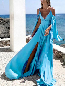 Vestidos largos azules Vestido de playa con hombros descubiertos y manga larga dividida